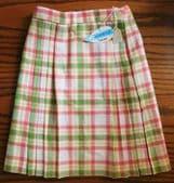 Girls Ladybird pleated tartan skirt vintage 1960s UNUSED Age 12 Courtelle wool